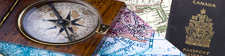 Image of a compass, map, and Canadian passport