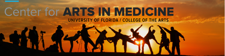 "Image of a silhouette of a group of photographers and explorers at sunset with text that reads ""Center for Arts in Medicine, University of Florida/College of the Arts"""