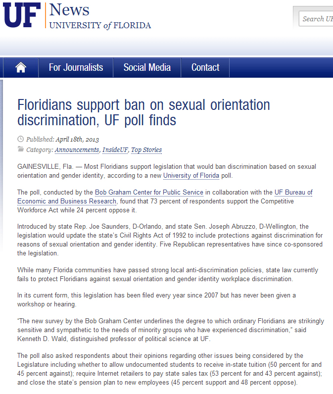 Floridians support ban on sexual orientation discrimination, UF poll finds