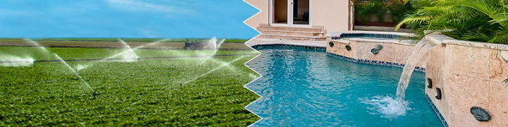 Image of water sprinklers on agricultural land and a small water fall pouring water into a swimming pool
