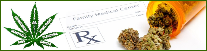 "Image of a marijuana plant with health issues written on each leaf: ""Aids, Hepatitis C, Chemotherapy, Pain, Spinal Injury, Glaucoma, Cancer,"" next to a blank prescription paper with a prescription bottle full of marijuana pouring over it"