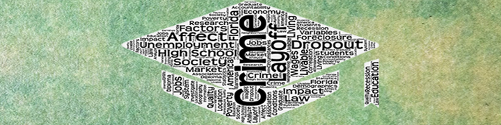 Image of a graduation cap made of words like Crime, Layoff, Dropout, Society, Unemployment, and Education