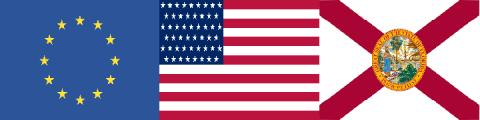 Photo of: The EU flag, the U.S. Flag, and the Florida Flag